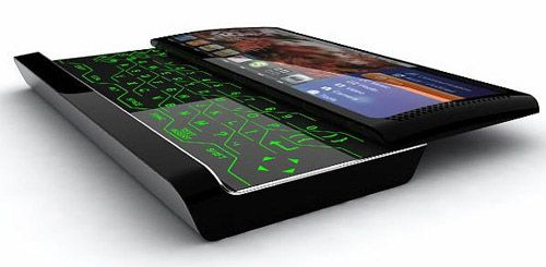 Multimedia Concept Phone  Designer Jakub Lekeš tries to push the limits of phone designing with his concept. This phone has many useful features. A sliding touch screen QWERTY keyboard is concealed under the display and there is a 4.3 megapixel autofocus camera with digital zoom support on the back. The most interesting feature is the side of the phone that shows the running track.
