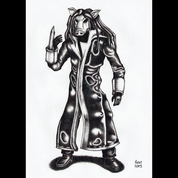 Jigsaw killer | ballpoint pen drawing | 2009 on Behance