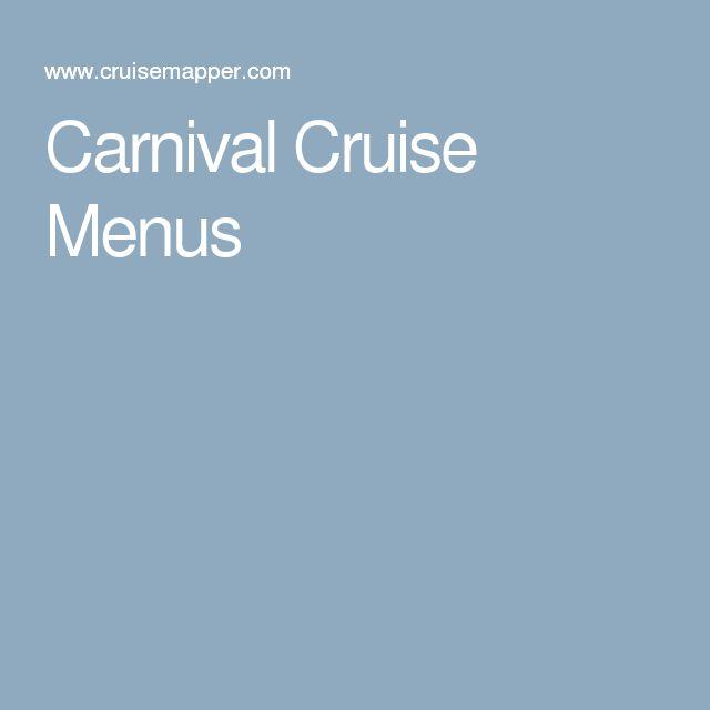 Carnival Cruise Menus