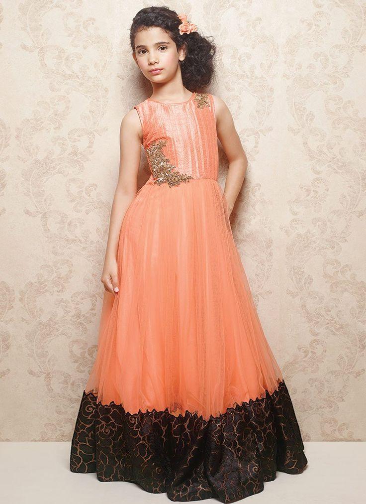 Doll Dark Peach Kids Net Gown
