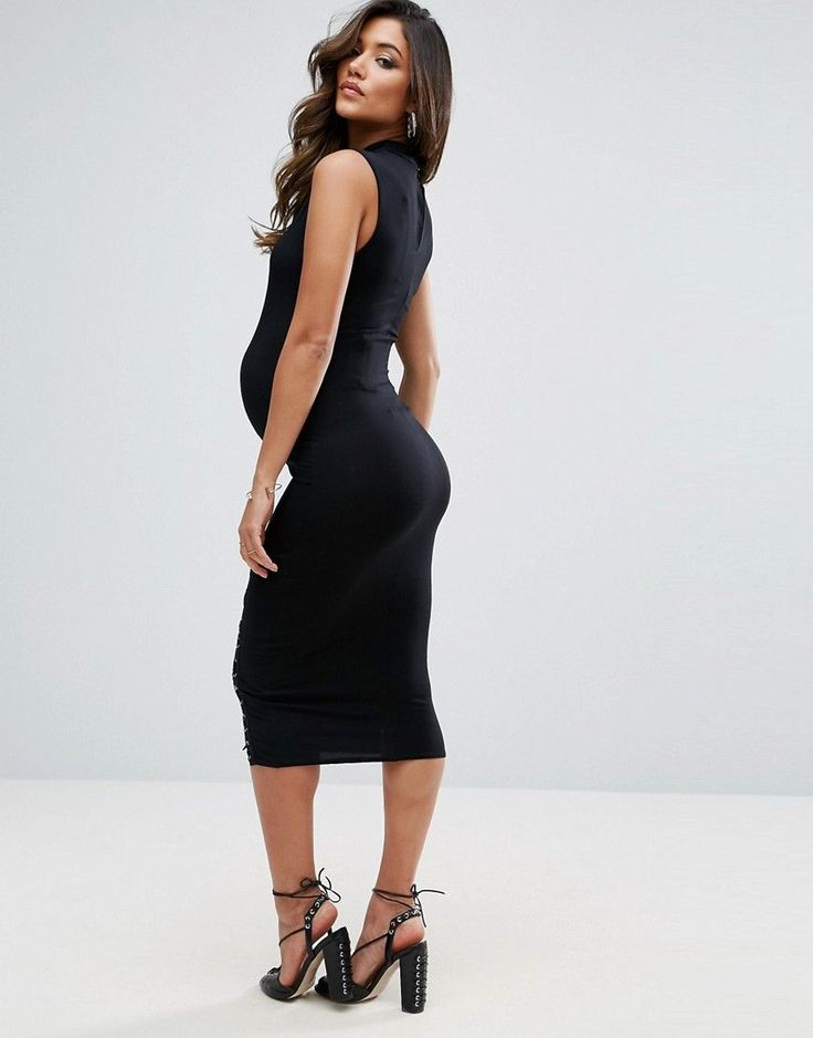 ASOS Maternity Bodycon Dress with Lace up Detail - Black