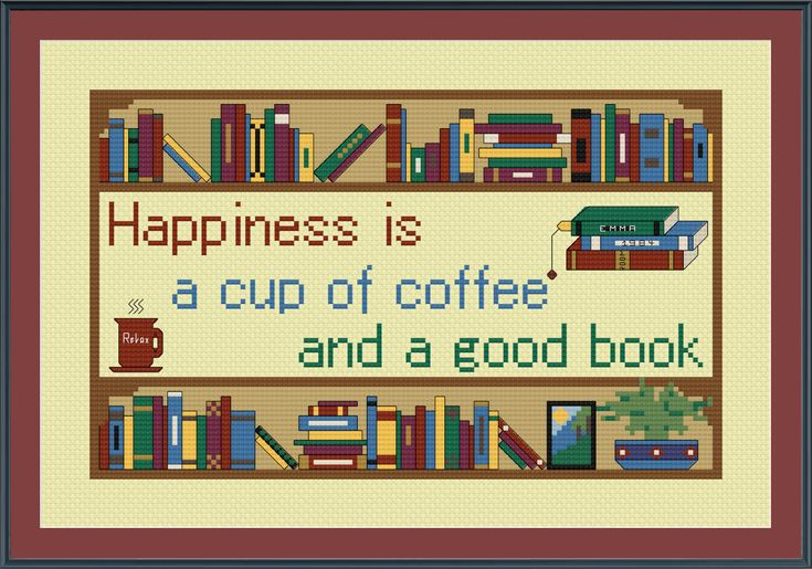 Happiness is a Cup of Coffee and Good Book Cross Stitch Pattern by StitcherzStudio on Etsy