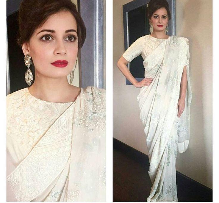 Dia Mirza # Varun Bahl # white crispness # saree # forever love