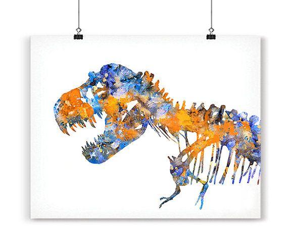 T-Rex print dinosaur art dinosaur bones blue orange by Thenobleowl