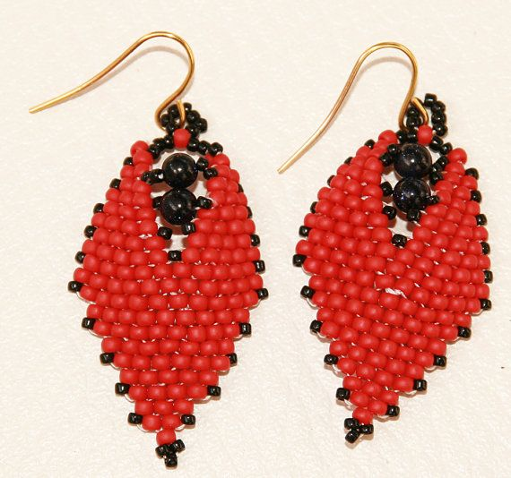 Red earrings Russian Leaf with stones Night Cairo von Mulinka