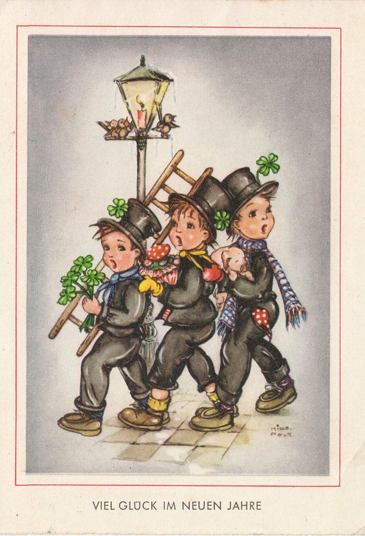Neujahr - 3 kleine Schornsteinfeger - sign. Hilla Peyk, 1962? | eBay