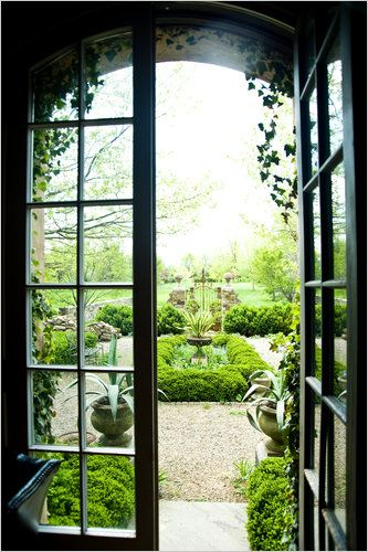 Garden View though French Doors: Modern Gardens, Courtyards Gardens, Black Interiors, Window, Gardens Design Ideas, Interiors Design, Formal Gardens, Black French Doors, Beautiful Gardens