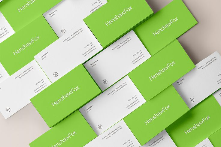 Brand identity and business card by British graphic design studio Parent for Hampshire estate agent HenshawFox.