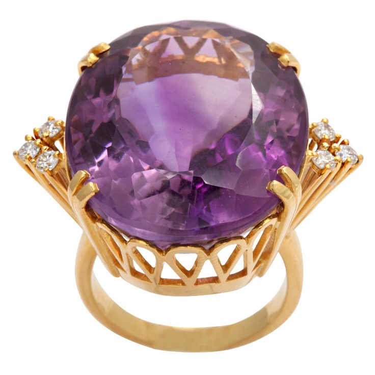 Amethyst Diamond And Gold Large Cocktail Ring, 1940's