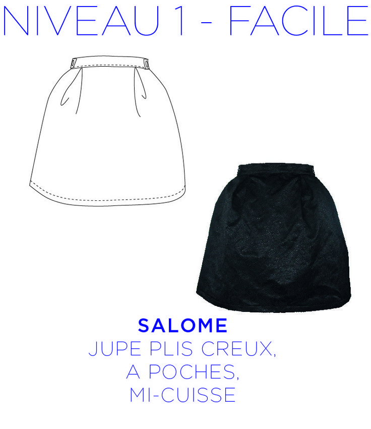 Patron - Jupe Salomé - Jupe évasée, à plis creux, longueur mi-cuisse de la taille 36 au 44 : Patrons par coralie-bijasson