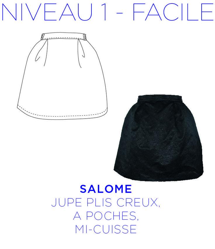 Patron - Jupe Salomé - Jupe évasée, à plis creux, longueur mi-cuisse de la taille 36 au 44