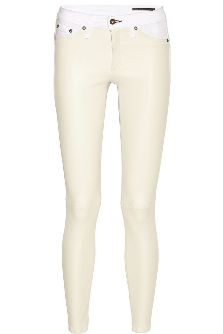 rag & bone leather-paneled skinny jeans... not my typical fare but I'm feeling like branching out. I would pair these with flat leather sandals in a natural tan and a white silk t shirt for shopping around the horse show grounds.