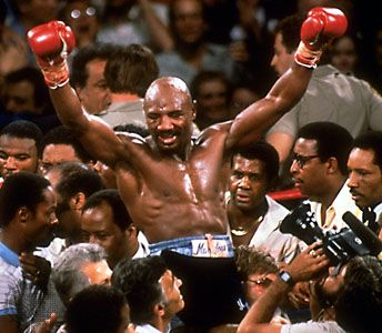 "Marvellous Marvin Hagler. Quote on hunger/desire: "" It's hard to get out of bed in the morning to go for a run when you're sleeping in silk sheets""."