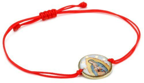 "Mercedes Salazar ""Multicharms"" Virgen De Guadalupe Coin with Adjustable Red Cord Bracelet Mercedes Salazar. $38.00. Hand made. Adjustable bracelet. Made in Colombia"