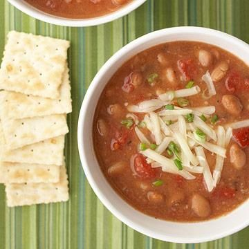 Southwestern Pinto bean Soup -  Ladle leftovers over low-fat tortilla chips for a high-fiber nacho snack.