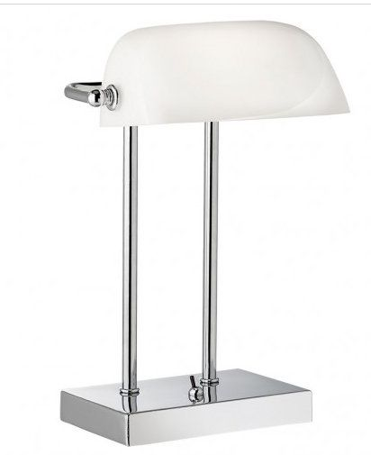 A beautiful chrome bankers lamp. Love the white and the simplicity of this lamp. A timeless classic that is also a really modern looking lamp