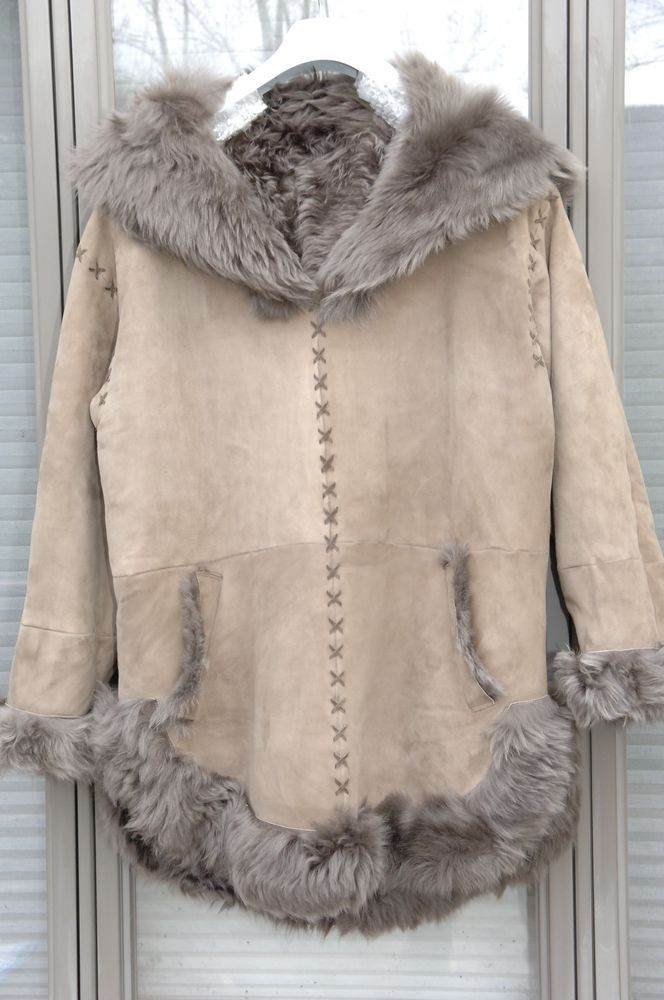 High end ladies' poncho coat, champagne gold suede, taupe monkey fur, size 10/12 #Handmade #Poncho