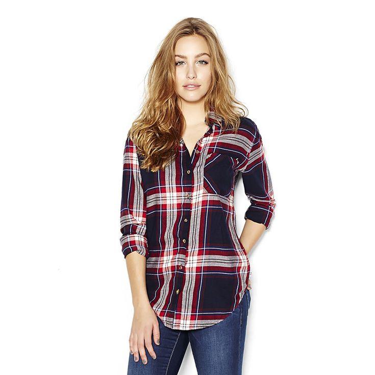 Navy Red Combo Boyfriend Flannel Plaid Shirt