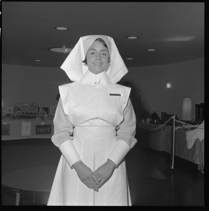 332166PD: Nurse K. W. Linn in historic nurses uniform at King Edward Memorial Hospital for Women open day, October 1969.  http://encore.slwa.wa.gov.au/iii/encore/record/C__Rb3043532__S332161pd__Orightresult__U__X3?lang=eng&suite=def