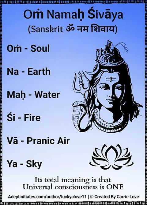 Oṁ Namaḥ Śivāya (Sanskrit ॐ नम शिवाय) is believed to be a powerful healing mantra, beneficial for all physical and mental ailments. Soulful recitation of this mantra, especially during meditation can bring peace to the heart and joy to the [Ātman] or soul. Many Hindu teachers consider that the recitation of these syllables is sound therapy for the body and nectar for the Ātman. The nature of this mantra is the calling upon the higher self; the calling upon Shiva, the destroyer deity, to aid…