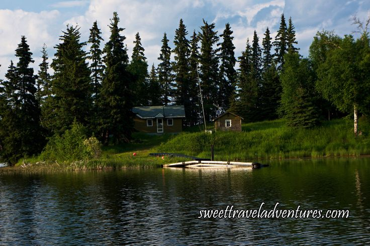 View of Park Ranger's Cabin From Hanging Heart Lakes Channel to Crean Lake in Prince Albert National Park, Saskatchewan, Canada