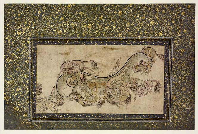 Dragon Fighting Qilins (16th Century CE Islamic Ottoman Miniature Painting) #Illuminated #Manuscript #History