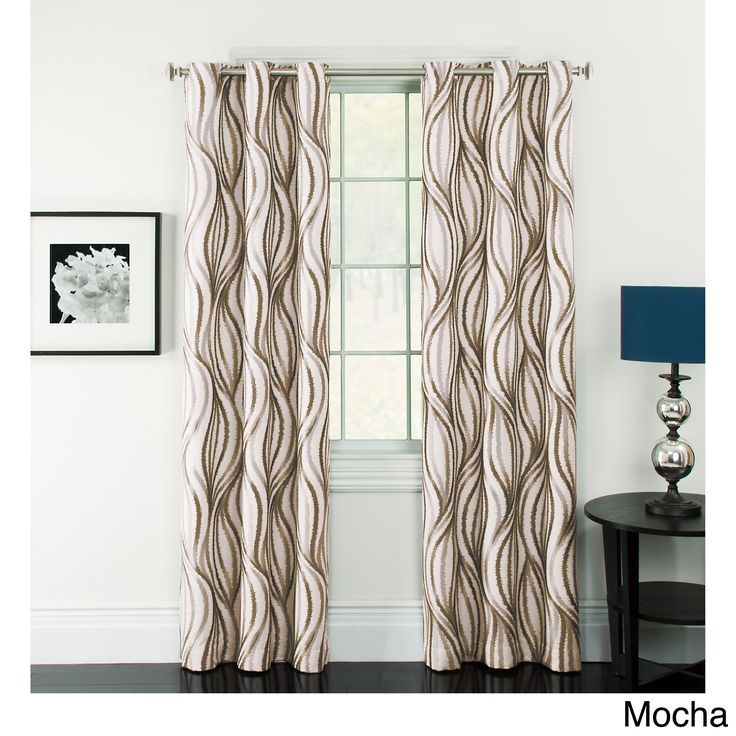 Celestina Wave Jacquard Grommet Blackout Curtain Panel