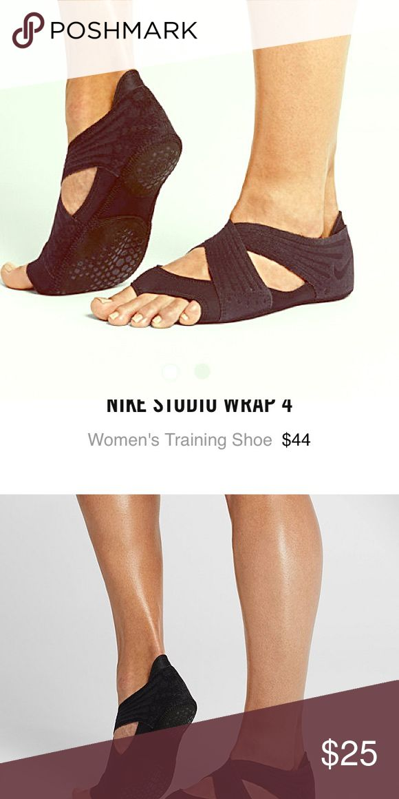 Nike studio wrap training shoes with ankle straps. Great for barre and yoga classes! Lots of stretch rubberized bottom. Nike Shoes Slippers