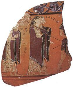 Sophilos - Corteo per le nozze di Peleo e Teti, frammento di vasi in ceramica, 580-570 a.C; Atene, Museo Nazionale.