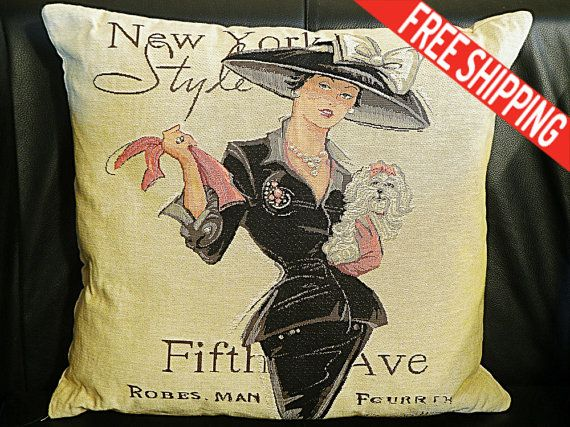 Vintage Decorative Pillow Paris Chic boutique by TheBlackHatDesign