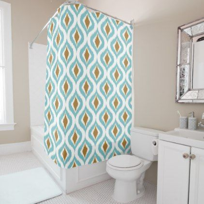 Brown Turquoise Teal Retro Chic Ikat Drops Pattern Shower Curtain - stylish gifts unique cool diy customize
