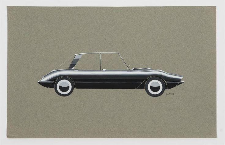 Gérard CARDIET (1943-2008) Etude de coupé Mercedes de couleur grise Gouache sur papier canson Signé 50 x 31 cm - Guillaumot-Richard