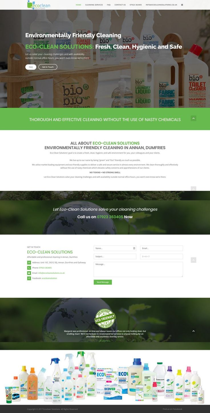 A 'clean' website design for Eco Clean Solutions in Scotland