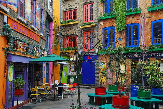 Neal's Yard @ London, England - just round that corner there's an amazing world instrument shop