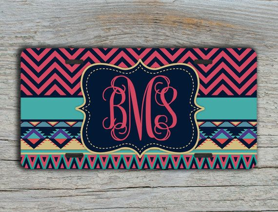 Personalized gift - monogram license plate  or frame Tribal pattern car tag by ToGildTheLily - Also available as a bike or ATV sized license plate.  These make a great gift for a little girls new bike.  #giftforteen https://www.etsy.com/listing/189246845