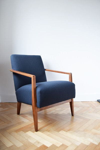 A stunning pair of vintage armchairs fully restored in charcoal Bute Wool by Florrie+Bill. These chairs are c. 1950's and possibly Danish in origin. For sale at www.florrieandbill.com.