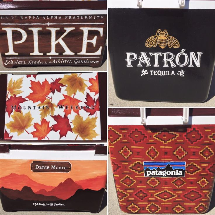 Clemson painted mountain weekend cooler for PIKE / Pi Kappa Alpha. Painted by Peyton Kinsey.