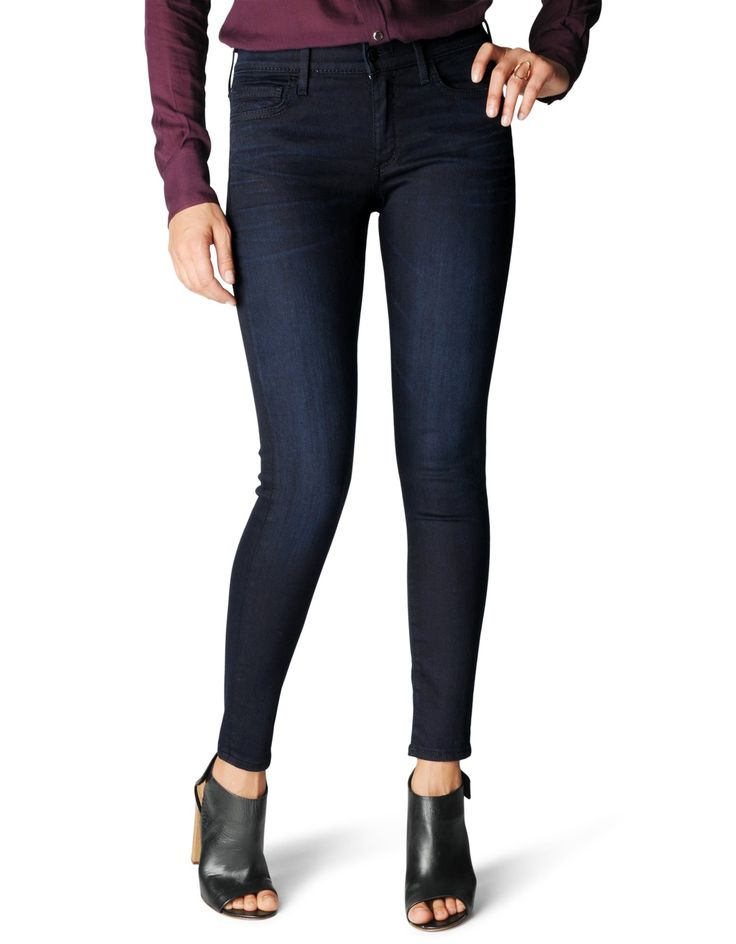 True Religion Women's Halle Mid Rise Skinny with Pockets, Painful Love,  Five-pocket jean in dark-tone skinny silhouette with horseshoe embroidery  at back ...