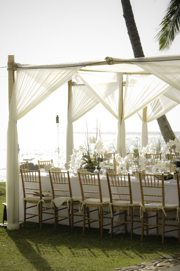 White Orchid Beach House - Maui Hawaii Wedding: White canopy tent with bamboo chairs, white orchid centerpieces.
