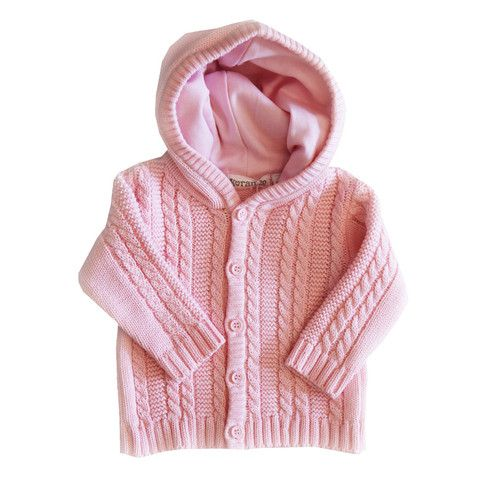 Cable Knit Hooded Jacket - Pink