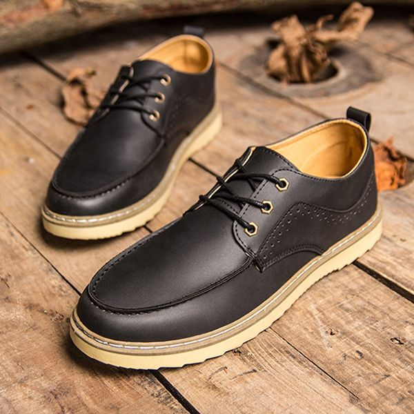 Men Leather Shoes Low Top Casual Outdoor Fashion Oxfords - US$32.99