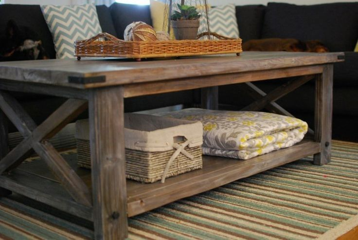 #DIY rustic coffee table, built from Ana White plans, stained with a vinegar steel wool solution, and finished with waxes. | decorwithzest.com