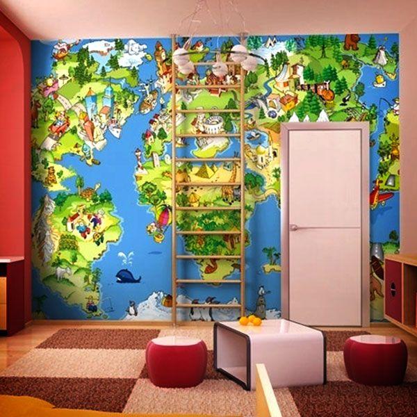 Mappa munditoon bambini per decorare una parete #mappa #politica #adesivi #murali #vinile #deco #decorazione #muro #StickersMurali