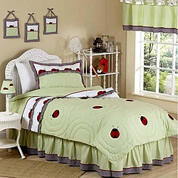JoJo Designs Green 3-piece Full/ Queen-size Comforter Set: Ladybugs
