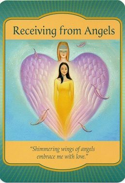 """Today's Angel Card Message Message from Receiving from Angels: """"Shimmering wings of angels embrace me with love"""" Card Meaning: Blessings from above are showering over your life. Angels are real, and their presence is near - they are only a thought away. Read more: http://www.online-tarot-readings-by-amber.info/angel.html"""