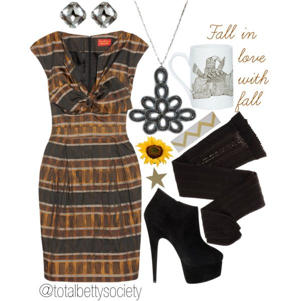 Fall in Love with Fall~ Fall in love with fall all over again in this stunning black, brown, and burnt yellow plaid dress. Accessorized with Total Betty Society hot pieces, the Brooke Necklace and Crystal Clear Earrings, this look is fall ready with warm and enchanting tones.  #gethelook #fall #fall2013 #falltrend2013 #falltrend #plaid #black #brown #yellow #tights #leggings #ankleboots #boots #necklace #earrings #jewelry #sunflower #star #houndstooth #chevron #outfit #ootd #lotd