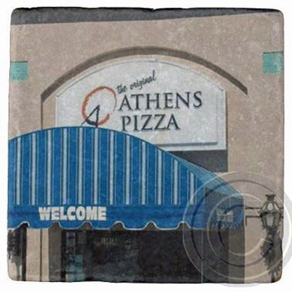 Athens Pizza, Decatur,Georgia. Landmark Marble Stone Coaster. Mix and Match With My Other Coasters To Make A Set
