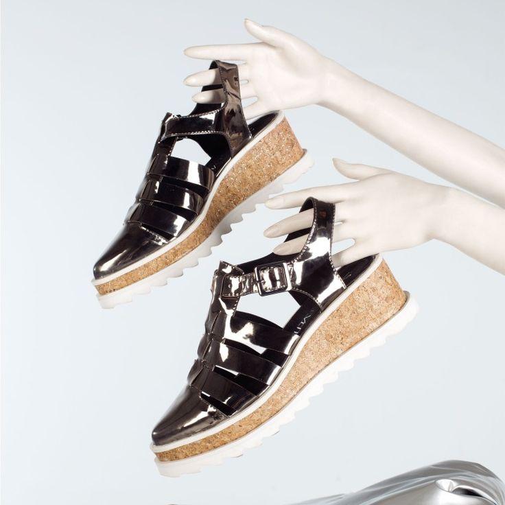sandalias cangrejeras MONACO Sintec Plomo / Cork Plata P:blanco 77923 | Zapatos y Accesorios Sixtyseven - SixtySeven Shoes