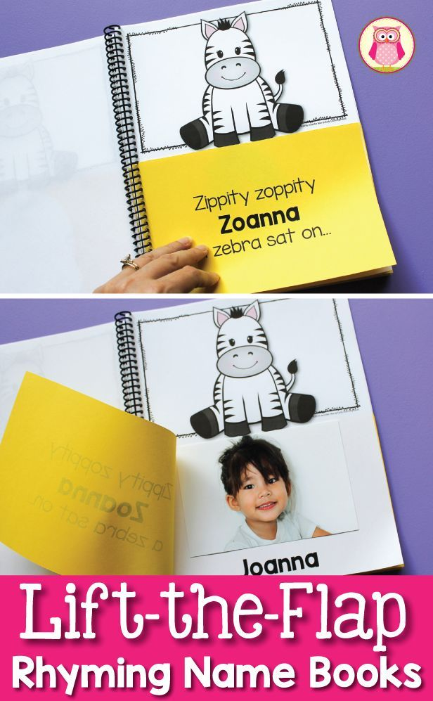 Make a custom lift-the-flap name book for your class.  The resource includes 4 different versions of animal rhymes.  Kids think that this rhyming activity is hilarious.  The class book will be a great addition to your class library in your preschool, pre-k, or kindergarten class.