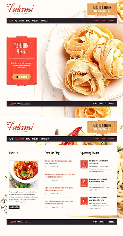 Web design inspiration: navigation remains in the same location throughout site (pages)...not a static navigation during scrolling / large image in background | Falconi pasta